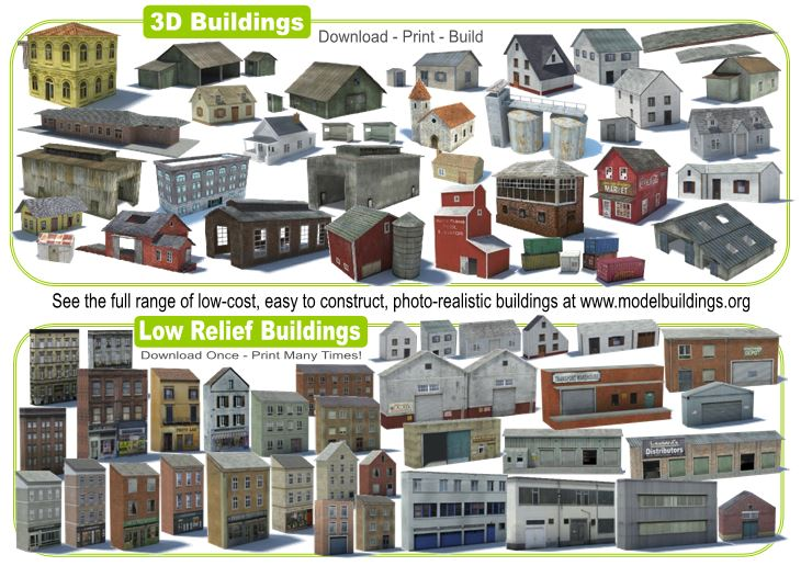 model railroad buildings 3D