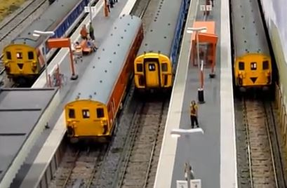 model trains at station